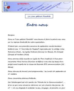 Read more about the article Lien de rentrée septembre2018 : Entre Nous