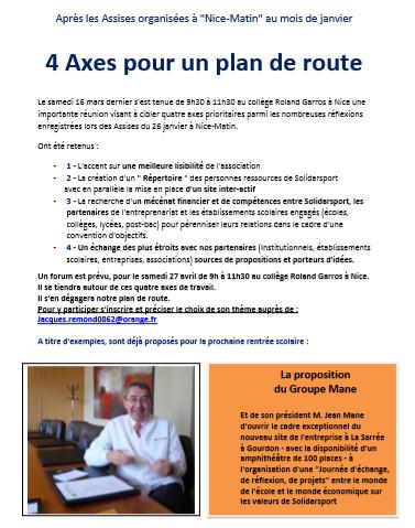4 axes pour un plan de route